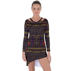 Hot As Candles And Fireworks In Warm Flames Asymmetric Cut Out Shift Dress
