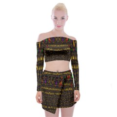 Hot As Candles And Fireworks In Warm Flames Off Shoulder Top With Mini Skirt Set