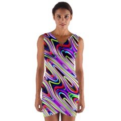 Multi Color Wave Abstract Pattern Wrap Front Bodycon Dress