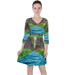 River Forest Landscape Nature Ruffle Dress