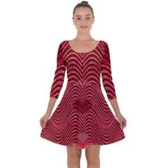Red Wave Pattern Quarter Sleeve Skater Dress