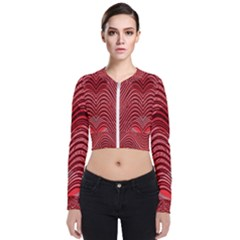 Red Wave Pattern Bomber Jacket
