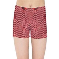 Red Wave Pattern Kids Sports Shorts