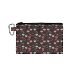 Heart Cherries Brown Canvas Cosmetic Bag (small)