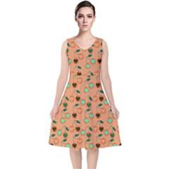 Peach Cherries V Neck Midi Sleeveless Dress