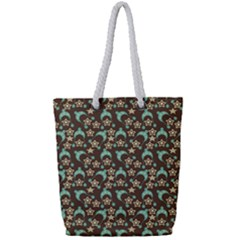 Brown With Blue Hats Full Print Rope Handle Tote (small)