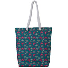 Teal Hats Full Print Rope Handle Tote (small)