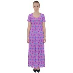 Pink Star Blue Hats High Waist Short Sleeve Maxi Dress