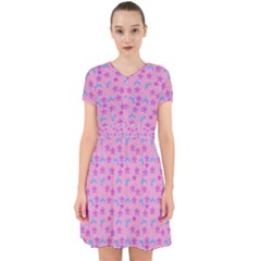 Pink Star Blue Hats Adorable In Chiffon Dress
