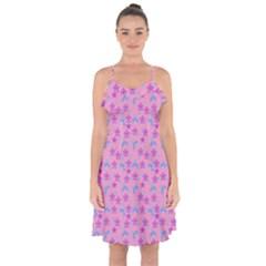 Pink Star Blue Hats Ruffle Detail Chiffon Dress