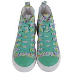 Blue Star Yellow Hats Women s Mid Top Canvas Sneakers