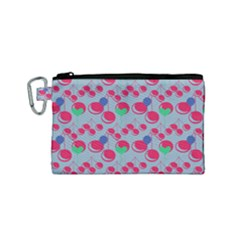 Bubblegum Cherry Blue Canvas Cosmetic Bag (small)