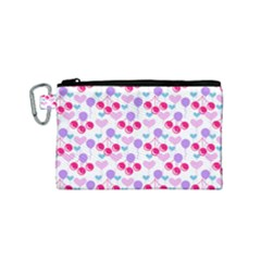 Pastel Cherries Canvas Cosmetic Bag (small)