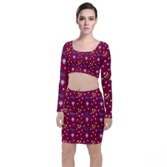 Cakes And Sundaes Red Long Sleeve Crop Top & Bodycon Skirt Set