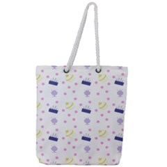 Cakes And Sundaes Full Print Rope Handle Tote (large)
