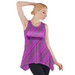 Pink Violet Diagonal Lines Side Drop Tank Tunic