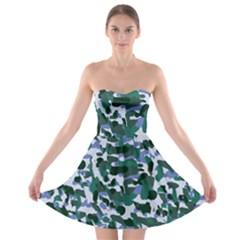 Blue Camo Strapless Bra Top Dress