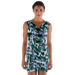 Blue Camo Wrap Front Bodycon Dress