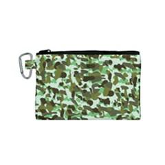 Brownish Green Camo Canvas Cosmetic Bag (small)