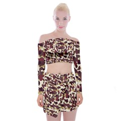 Red Camo Off Shoulder Top With Mini Skirt Set