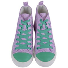 Silly Stripes Lilac Women s Mid Top Canvas Sneakers