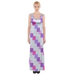 Geometric Squares Maxi Thigh Split Dress