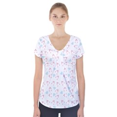 Pink Hats Short Sleeve Front Detail Top