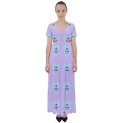 Pink Cupcake High Waist Short Sleeve Maxi Dress