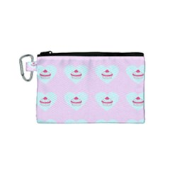 Pink Cupcake Canvas Cosmetic Bag (small)