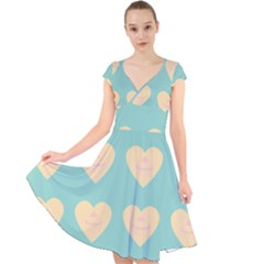 Teal Cupcakes Cap Sleeve Front Wrap Midi Dress