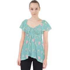 Teal Hearts And Hats Lace Front Dolly Top