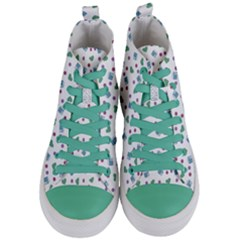 White Milk Hearts Women s Mid Top Canvas Sneakers