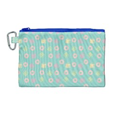 Teal Donuts And Milk Canvas Cosmetic Bag (large)