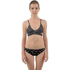 Dark Grey Milk Hearts Wrap Around Bikini Set