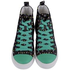 Dark Grey Milk Hearts Women s Mid Top Canvas Sneakers