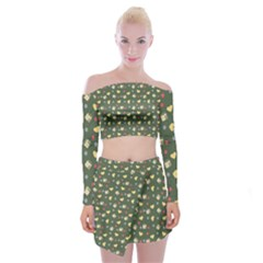 Green Milk Hearts Off Shoulder Top With Mini Skirt Set