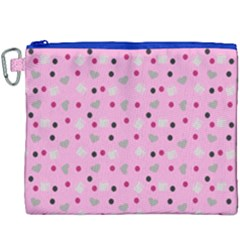 Pink Milk Hearts Canvas Cosmetic Bag (xxxl)