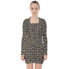 Charcoal Grey  Milk Hearts V Neck Bodycon Long Sleeve Dress