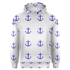 Royal Anchors On White Men s Overhead Hoodie
