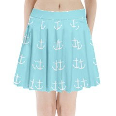 Aqua Anchor Pleated Mini Skirt