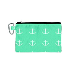 Seafoam Anchors Canvas Cosmetic Bag (small)