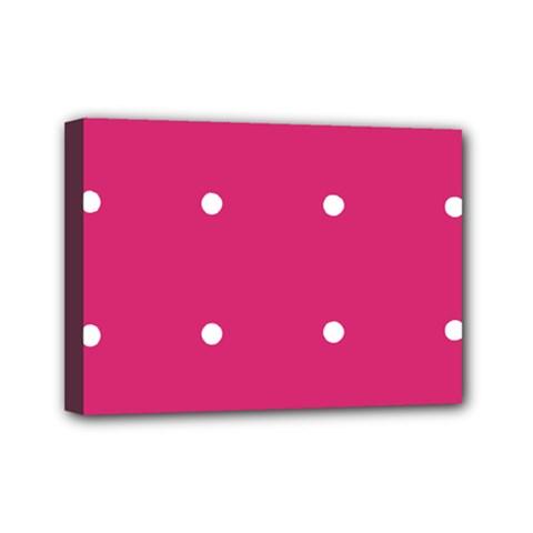 Small Pink Dot Mini Canvas 7  X 5