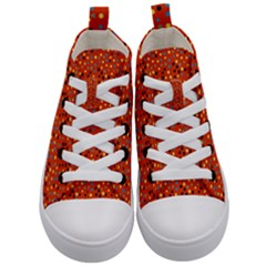 Red Retro Dots Kid s Mid Top Canvas Sneakers