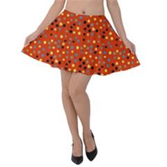 Red Retro Dots Velvet Skater Skirt
