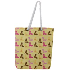 Beige Boots Full Print Rope Handle Tote (large)