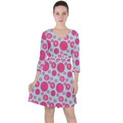 Blue Retro Dots Ruffle Dress