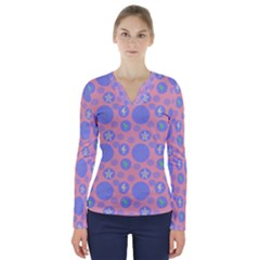 Pink Retro Dots V Neck Long Sleeve Top