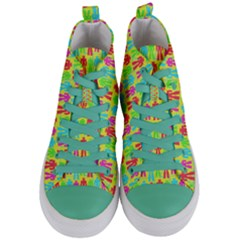 Colorful Robots Women s Mid Top Canvas Sneakers