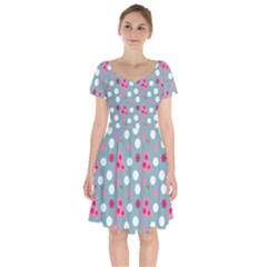 Pink Dress Blue Short Sleeve Bardot Dress