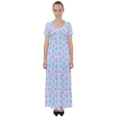 Cats And Flowers High Waist Short Sleeve Maxi Dress